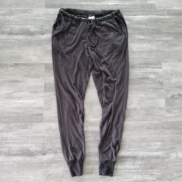 Black Leather Trim Bobi Banded Sweats
